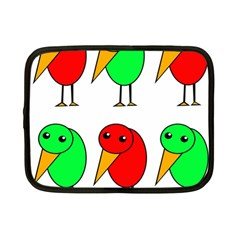 Green and red birds Netbook Case (Small)