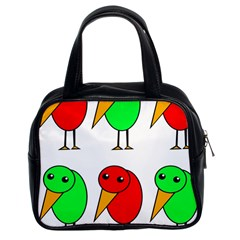 Green and red birds Classic Handbags (2 Sides)