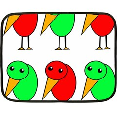Green and red birds Double Sided Fleece Blanket (Mini)