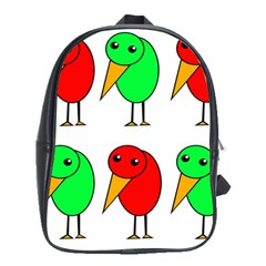 Green and red birds School Bags(Large)