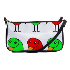 Green and red birds Shoulder Clutch Bags