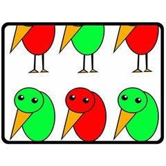 Green and red birds Fleece Blanket (Large)