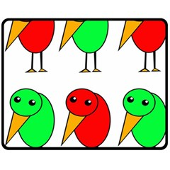 Green and red birds Fleece Blanket (Medium)