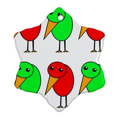 Green and red birds Snowflake Ornament (2-Side)