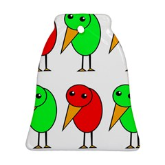 Green and red birds Bell Ornament (2 Sides)