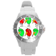 Green and red birds Round Plastic Sport Watch (L)