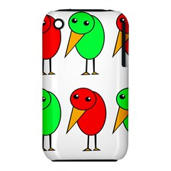 Green and red birds Apple iPhone 3G/3GS Hardshell Case (PC+Silicone)