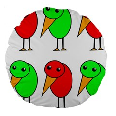 Green and red birds Large 18  Premium Round Cushions
