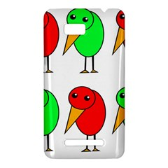 Green and red birds HTC One SU T528W Hardshell Case