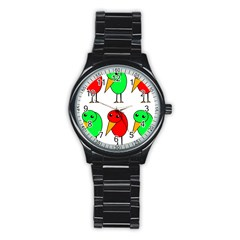 Green and red birds Stainless Steel Round Watch