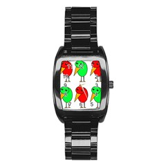 Green and red birds Stainless Steel Barrel Watch