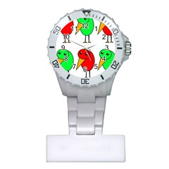 Green and red birds Plastic Nurses Watch