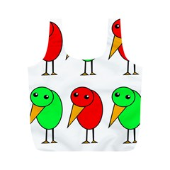 Green and red birds Full Print Recycle Bags (M)