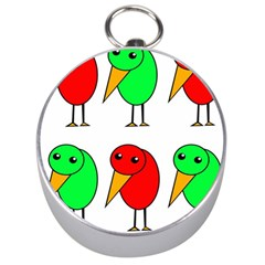 Green and red birds Silver Compasses