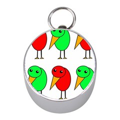 Green and red birds Mini Silver Compasses