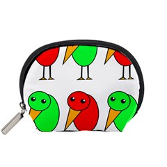 Green and red birds Accessory Pouches (Small)