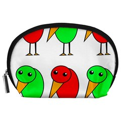 Green and red birds Accessory Pouches (Large)