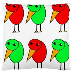 Green and red birds Standard Flano Cushion Case (One Side)