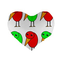 Green and red birds Standard 16  Premium Flano Heart Shape Cushions