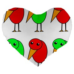 Green and red birds Large 19  Premium Flano Heart Shape Cushions