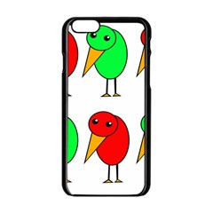 Green and red birds Apple iPhone 6/6S Black Enamel Case