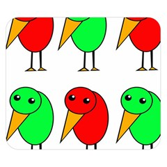 Green and red birds Double Sided Flano Blanket (Small)