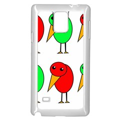 Green and red birds Samsung Galaxy Note 4 Case (White)