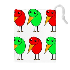 Green and red birds Drawstring Pouches (Extra Large)