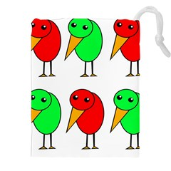 Green and red birds Drawstring Pouches (XXL)
