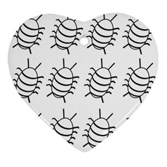 White bug pattern Ornament (Heart)