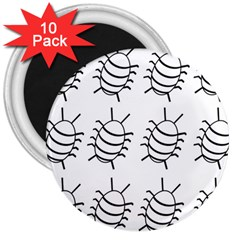 White bug pattern 3  Magnets (10 pack)