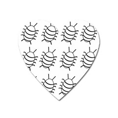White bug pattern Heart Magnet