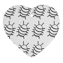 White bug pattern Heart Ornament (2 Sides)