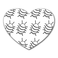 White bug pattern Heart Mousepads
