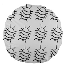 White bug pattern Large 18  Premium Round Cushions