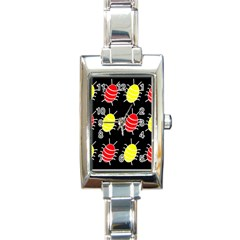 Red and yellow bugs pattern Rectangle Italian Charm Watch