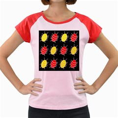 Red and yellow bugs pattern Women s Cap Sleeve T-Shirt