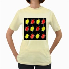 Red and yellow bugs pattern Women s Yellow T-Shirt