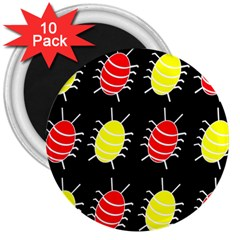 Red and yellow bugs pattern 3  Magnets (10 pack)