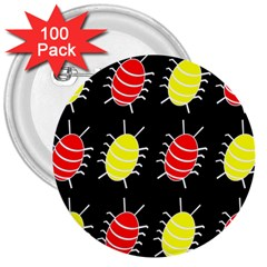 Red and yellow bugs pattern 3  Buttons (100 pack)