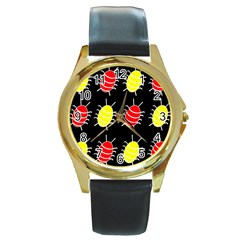 Red and yellow bugs pattern Round Gold Metal Watch