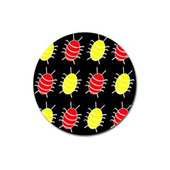 Red and yellow bugs pattern Magnet 3  (Round)