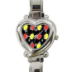 Red and yellow bugs pattern Heart Italian Charm Watch