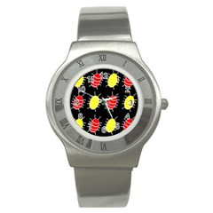 Red and yellow bugs pattern Stainless Steel Watch