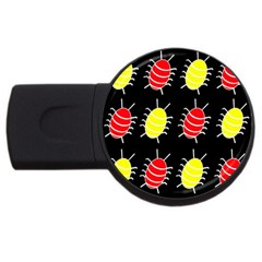 Red and yellow bugs pattern USB Flash Drive Round (4 GB)