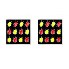 Red and yellow bugs pattern Cufflinks (Square)