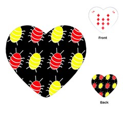 Red and yellow bugs pattern Playing Cards (Heart)