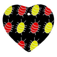 Red and yellow bugs pattern Heart Ornament (2 Sides)