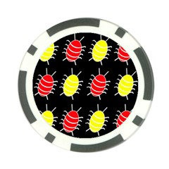 Red and yellow bugs pattern Poker Chip Card Guards