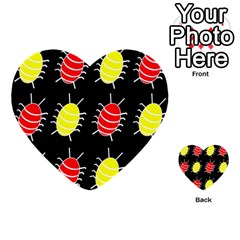 Red and yellow bugs pattern Multi-purpose Cards (Heart)
